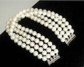 "SHOP CLOSING SALE: Ashira Aaa Cultured Natural White Round Pearl 4 Strand Bracelet 7 1/2"" - Fits Medium Wrist"
