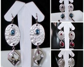 READY FOR SPRING Sale: Ashira Silver Drop Earrings with Stones - One-Touch Hoop