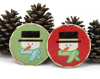 "christmas ornament needlepoint kit - diy - snowman - 4"" - on red or green - contemporary - modern"