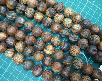 Antique Coffee Brown Agate Lantern Round Beads 18x16mm- - 25pcs/str
