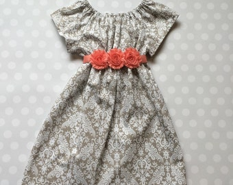 Size 12 months - Ready to Ship - Gray Damask Dress - Ready to Ship Dresses - Girls Dresses