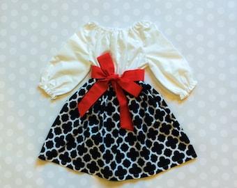 Black and White Girls Dress - Girls Dresses - Red and Black Dress - Girls Dress - Dresses for Girls - Girls Valentines Dress - Valentines