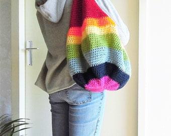 Rainbow Crochet Bag, Market Bag, Beach Bag, Tote Bag