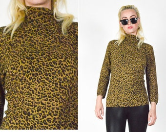 Reserved - 1990's TAN & Black ANIMAL Pattern Knit Sweater. Leopard Print. 90's Grunge Mod - Size SMALL