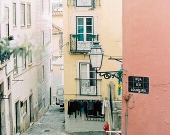Architecture Travel Photo, Lisbon Art Print, Alfama, Travel Art Print,Romantic Decor,Yellow and Pink Decor, Typical Neighbourhoods Lisbon