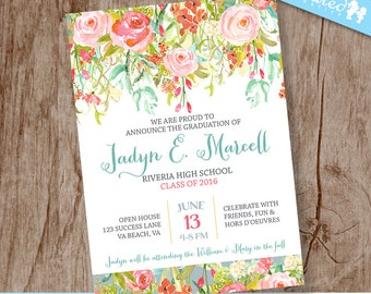 Flower Shimmer Graduation Announcement, Open House Grad Invitation, College High School Graduate - DiY Printable || Blooming Bright Success