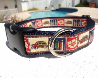 "Beach Surf ,Woody Dog Collar, Quick Release Buckle 3/4"" or 1"" width - upgrade to Martingale -  incl. neck measurement"