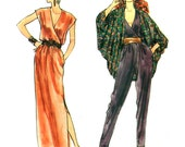 """80s Cocoon Jacket Pattern, Womens Jumpsuit, Wrap Dress,  Dolman Sleeves Vogue No. 8458 Size 10 Bust 32.5"""""""