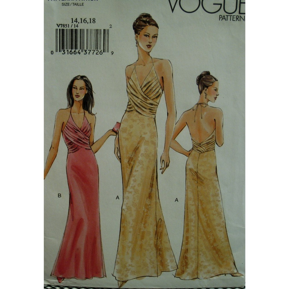 Draped Gown Pattern: Front Cross Evening Gown Pattern Halter Top Draped Overlap