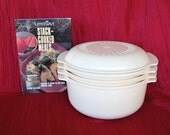 Vintage Tupperware TupperWave Stack Cooker with Cookbook 5 Pieces circa 1990 includes Colander Steamer