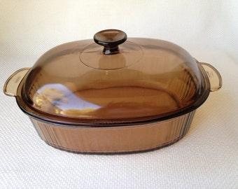 Vintage Amber Corning Visions 4 Liter Covered Oval Roaster Corning Ware Visions Amber Oval Roaster 4 Quart Glass Baking Casserole