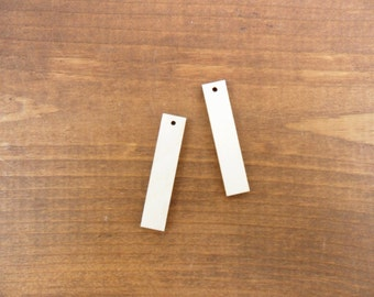 """Wood Rectangle / Bar Earring 1 3/4"""" (44.45mm) x 3/8"""" (9.5mm) x 1/8"""" (3mm) Unfinished Wood Laser Cut Jewelry Shapes 1 Hole - 25 Pieces"""