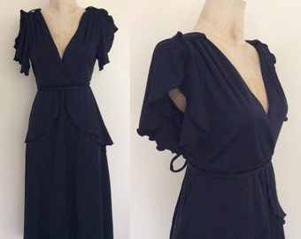 1970's Black Polyester High Low Dress with Peplum Vintage Dress Size Medium by Maeberry Vintage