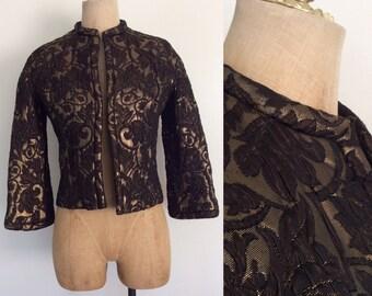 1960's Quilted Black Brocade Gold & Black Jacket Vintage Jacket Size Small Medium by Maeberry Vintage