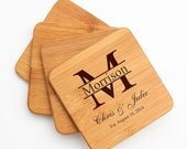 Personalized Bamboo Coasters, Custom Engraved Bamboo Coasters, Personalized Coaster, Personalized Wedding Gifts, Housewarming Gifts D24