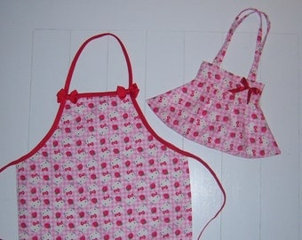 Child's Pink Hello Kitty Purse and Apron Duo