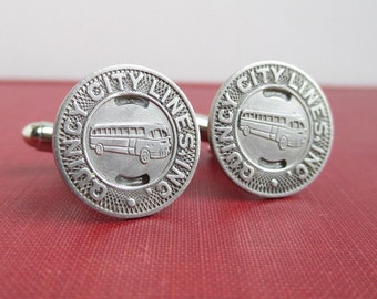 Qunicy IL Transit Token Cuff Links - Vintage Repurposed Silver Tone Coins