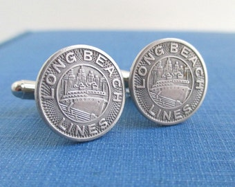 LONG BEACH, CA Cuff Links - Vintage Silver Tone Coins, Upcycled