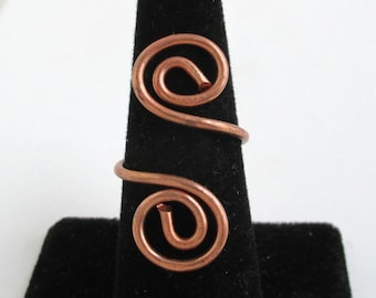 Curled Copper Wire Bypass Ring - Adjustable Size - Vintage