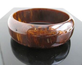 Marbled Bakelite Bangle Bracelet - Chunky Brown w/ Marbled Yellow, Vintage
