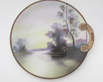 NORITAKE Japanese Plate Hand Painted Vintage Home Decor Plate with Handle and Box Morimura Wreath Mark Cottage by River with Trees