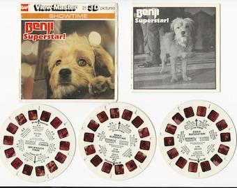 BENJI Superstar Viewmaster Reel Set H 54 Set of 3 GAF Vintage view-master reels Showtime with Booklet 1977