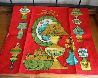 Vintage Printed Kitchen Towel Bright Oil Lamps Tole Lamps Unused Lovely!