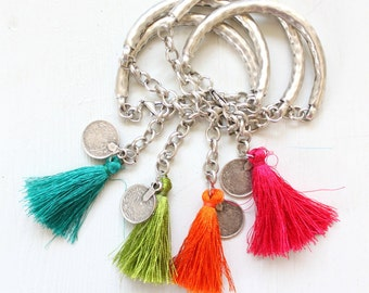 Summer jewelry, Tassel jewelry, One Matte Silver plated bangle Bracelet with a silk Tassel and coin Bohemian style stackable bracelet