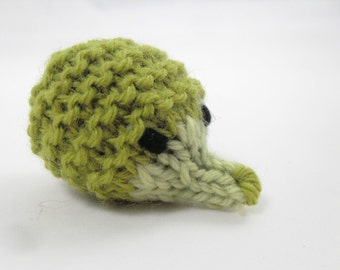 Tiny Hand Knit Wool Hedgehog Plush Toy. Olive Green Hedgehog. Pocket Pal. Pretend Play. Waldorf Toy. Ready To Ship. Gifts Under 10.