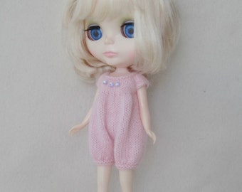 Pastel Pink Knitted Romper for Blythe