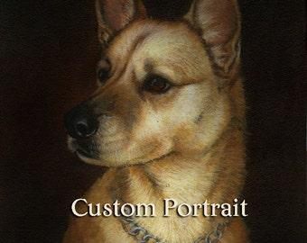 CUSTOM Dog Portrait - Personalized Dog Painting - Custom Pet Portrait - Simple Background