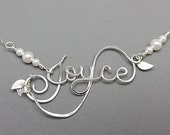Sterling Silver Personalized Calligraphy Script Name or Word Necklace with leaves and vines