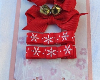 Christmas Boutique Hair bow Hair clippies Combination set