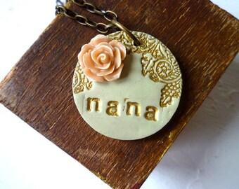 Nana Necklace, Nana  Christmas Gift, Personalized Grandmother Jewelry, Add Grandkids initials