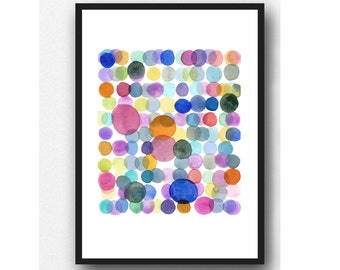 colorful watercolor painting Colored dots abstract watercolor print colorful wall art Nursery decor Abstract print