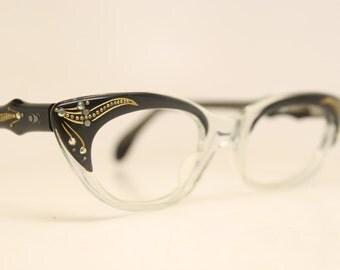 Blue Fade Rhinestone cat eye glasses retro vintage