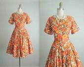 STOREWIDE SALE 50's Floral Dress // Vintage 1950's Orange Floral Print  Cotton Summer Garden Party Dress M L