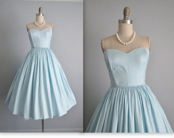 50's Dress // Vintage 1950's Strapless Baby Blue Cotton Full Garden Party Summer Pinup Dress XS