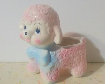 Vintage Kitsch Lamb Baby Planter Lamb Planter Kitsch Cute Pink