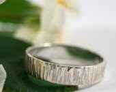 Mens Bark Effect Wedding Band: A large 5mm wide sterling silver bark effect wedding band
