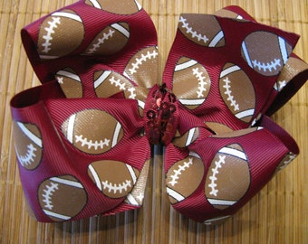 3030 large maroon football boutique bow