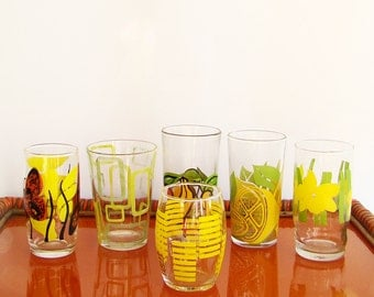Mismatched Retro Drink Glasses, Glass Tumblers, Bright Colours, Set of six, 1970s Glassware
