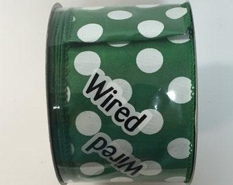 2.5 Inch Green White Dot Ribbon 224085-580, Sports Ribbon, Deco Mesh Supplies
