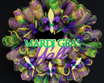 Mardi Gras Y'all, Mardi Gras Wreath, Fleur de Lis Wreath, Fat Tuesday (1892)