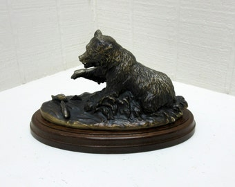 Vintage Grizzly Bear Fishing For Salmon Bronze Sculpture Terrell O'Brien