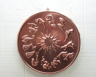 Vintage CopperZodiac Jello Mold Wall Hanging Kitchen Decor
