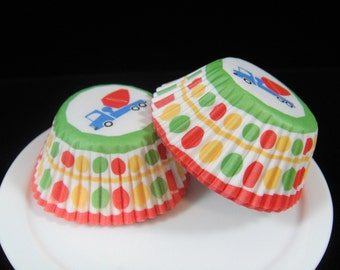 Construction/Cement Truck Mini Cupcake Liners, Mini Baking Cups, Mini Muffin Papers, Candy Cups, Construction Party - QTY. 25