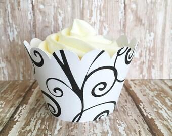 custom cupcake wrappers, black swirls cupcake wrappers, set of 24