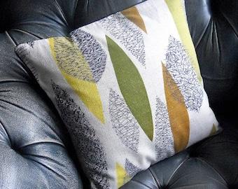 50s Leaf Barkcloth Vintage Fabric Cushion Cover