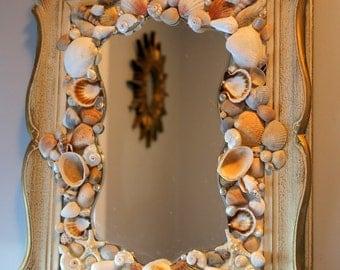 Coastal Shores Ornate Vintage Seashell Mirror